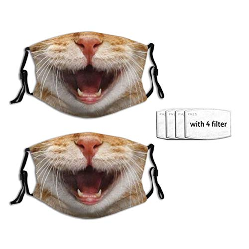 2 PCS Funny Animal Cat Mouth Face Mask for Adults, Reusable Washable Neck Gaiter Balaclavas with 4 Filters for Men Women