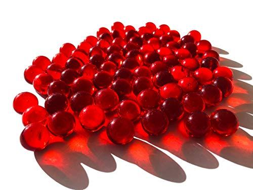 FAIRY TAIL & GLITZER FEE Glasmurmeln Rot ca. 95 Murmeln 16mm Glas-Kugeln Murmel Vasen-Füllungen transparent Murmeln Dekoschalen Murmelspiel Glas