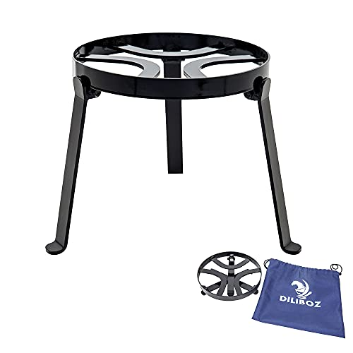 Diliboz campfire tripod for camping cooking in cast iron - campfire grill for fire pit dutch oven - outdoor open fire cooking and camping grill grate over fire