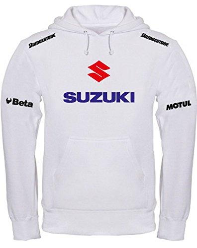 Print & Design Sweatshirt mit Kapuze Suzuki Moto MotoGP Offroad Kapuzenpullover personalisierte weiß (XXL)