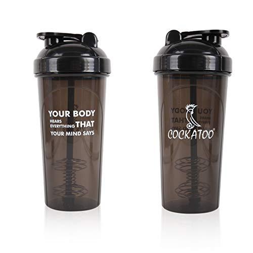 Cockatoo CS-01 BPA free Shaker Bottle, 700ml (Black,Set of 1)