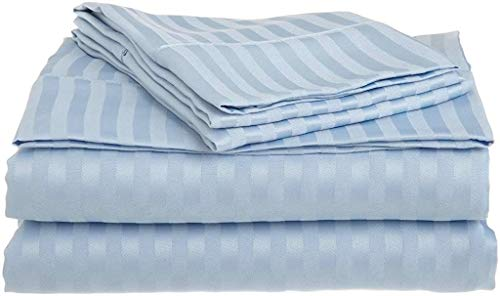 RRlinen 600 Thread Count Luxurious Sheet-Set with 12 inches Deep Pocket (1 Fitted Sheet, 1 Flat Sheet and 2 Pillow Cases) Twin Sky Blue Stripe