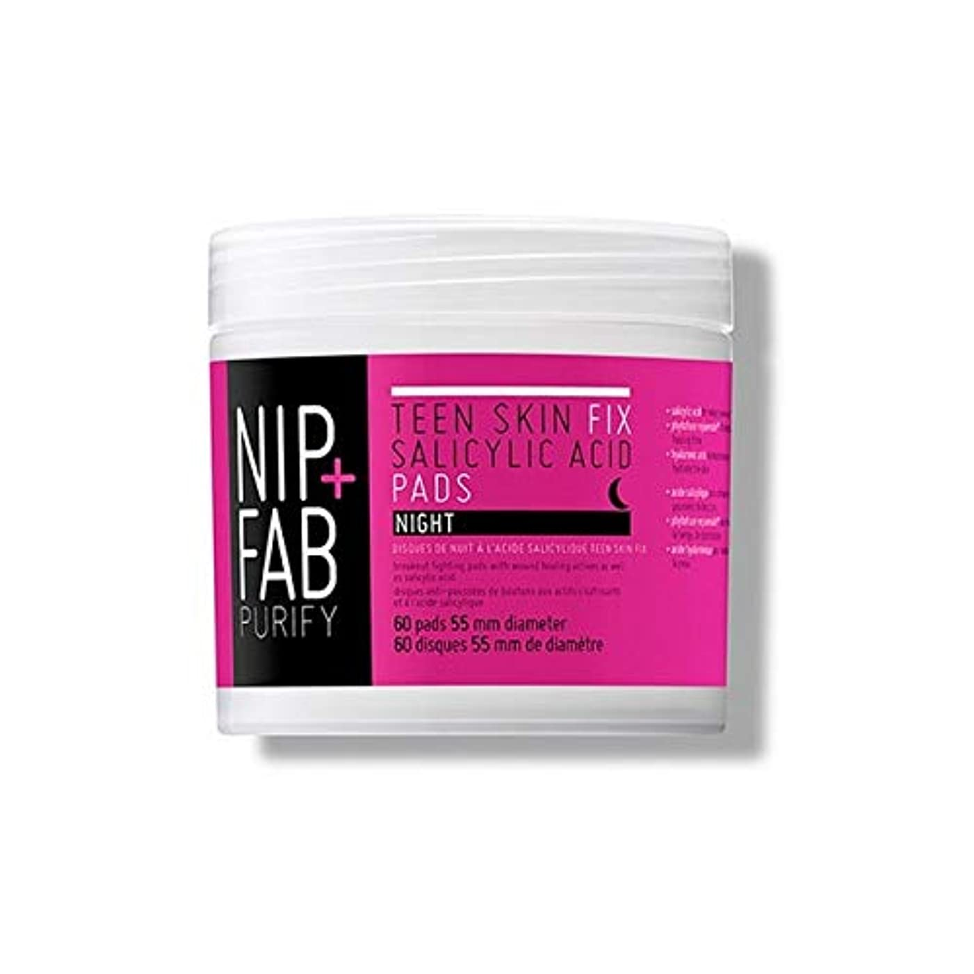 自動車速記内陸[Nip & Fab ] + Fab十代の肌サリチル酸夜用パッド80ミリリットルニップ - Nip+Fab Teen Skin Salicylic Acid Night Pads 80ml [並行輸入品]