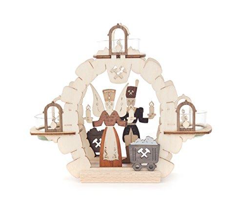 DREGENO Teelicht-Halter mit Engel und Bergmann, Laubsäge-Arbeit aus Holz von DREGENO SEIFFEN – Original erzgebirgische Handarbeit, stimmungsvolle Weihnachts-Dekoration