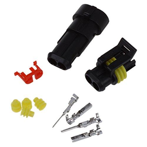 REFURBISHHOUSE 5 Kit Conector Sellado 2 Pins Impermeable Electrico Cable Enchufe