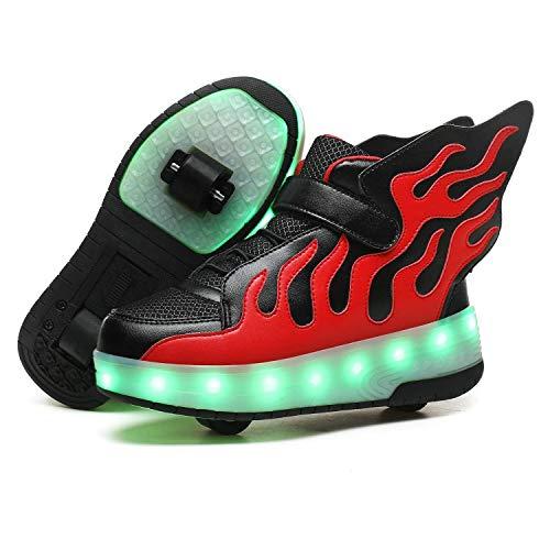 Zapatillas con Ruedas LED Luces Luminosas Zapatos de Roller Ajustable Doble Rueda Patines Calzado Deportivo al Aire Libre Niños Niña Moda Gimnasia Zapatos de Skateboard con USB Carga