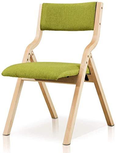 Lanrui Respaldo plegable de madera maciza con silla de tela de comedor, para balcón, hogar, jardín, camping, actividades de pesca