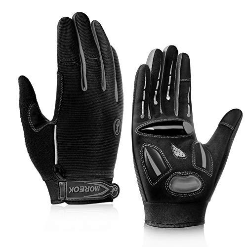 BIKINGMOREOK Cycling Gloves Mountain Bike Gloves MTB Gloves Biking Gloves Men Women,Full Finger Touch Screen Non-Slip Shockproof Gel Padded Dirt Bike Gloves Gray-L