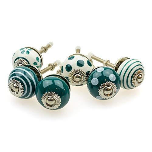 Set di 6 pomelli per mobili piccoli 092GN_SM a pois bianchi e verde scuro – Jay Button ceramica porcellana dipinta a mano vintage per mobili per armadio, cassetto, comò