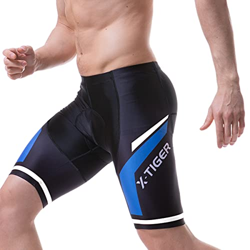 X-TIGER wielerbroek heren met Gel 5D Shorts, fietsbroek, wielbroek, versterkte gel, kort, wielrennen, mountainbike, racesport, fitness, shorts