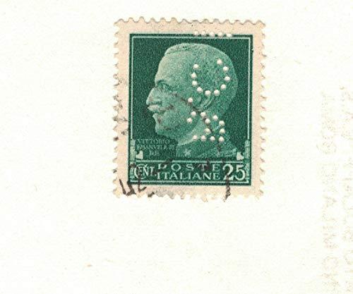 Francobollo da 25 Cent. Regno d'Italia Serie Imperiale - Perfin B.C.I.