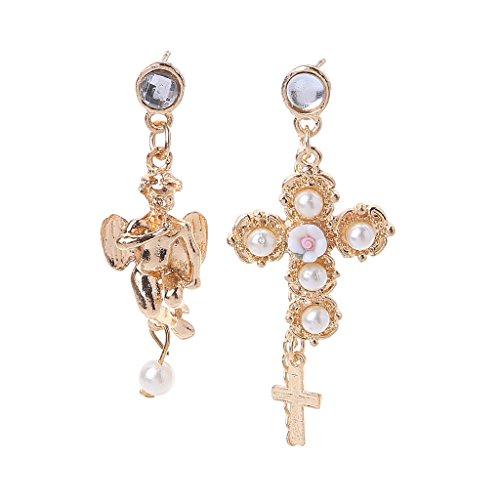 laimoere Golden Cross Angle, Pendientes Colgantes de Perlas de imitación, joyería de Moda para Mujer