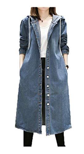 AiMei Women's Denim Hoode Oversized Open Front Outwear Jacket,Blue,Large