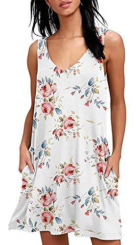 Vestidos de Verano Vestidos de Camiseta sin Mangas Sueltos Ocasionales Elegantes Vestidos de Playa Florales con Bolsillos de Boho Blanco L