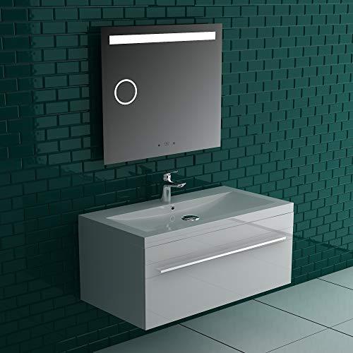 Alpenberger Badmeubelset, compleet voorgemonteerd, 90 x 48 cm, wastafel met overloop & onderkast met soft-close functie & spiegel met LED-verlichting en spiegelverwarming, snelle zelfmontage