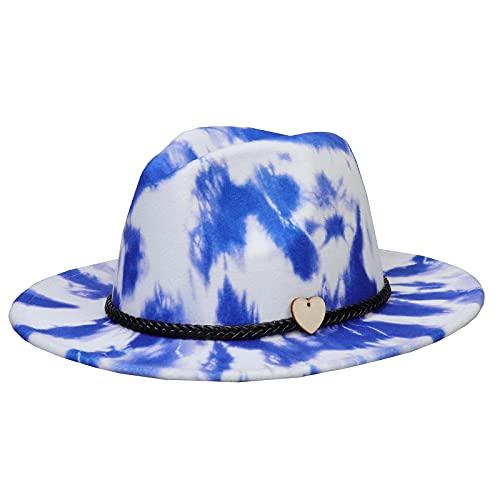 Jixin4you Gorro de lana con borde ancho Panamá para viajes, talla única, unisex, F: Tie Dye Blue, Talla única