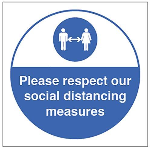 Si prega di rispettare le nostre misure di distanza sociale adesivo in vinile (200 x 200 mm quadrati).
