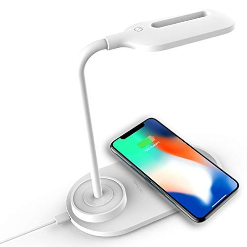 Muvit™ Wireless Charger QI with Flexible Table Lamp Desk Compatible with iPhone 12/12pro/11 / 11Pro / X/XS/XR /8 Plus/8/ Samsung Galaxy S10, s20, note10,20 and Other All Qi Enabled Devices