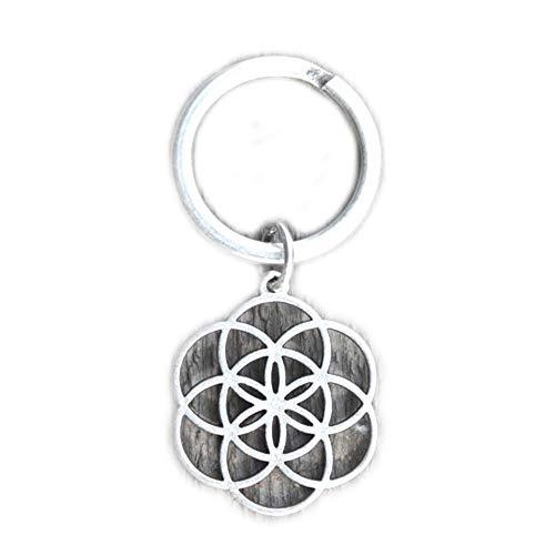 Schlüsselanhänger am Ring versilbert, Blume des Lebens in schönen Organzabeutel. Schlüsselring Schlüsselbund