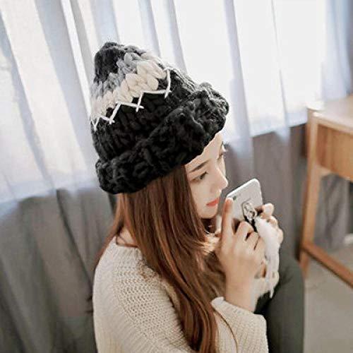 MIZZM Beanie Sombrero de Lana de Aguja Gruesa para Mujer Gorro de Punto Simple de Invierno Orejeras Gruesas y cálidas-2