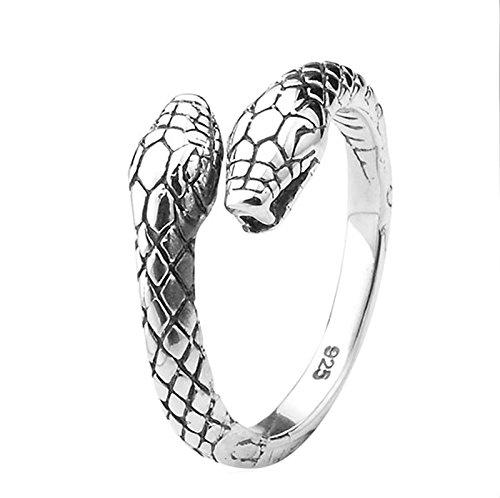 AnazoZ Joyería de Moda Plata de Ley 925 Hombre Anillo de Hombre Doble Cabeza Serpiente Abra Simple Personalidad Moda