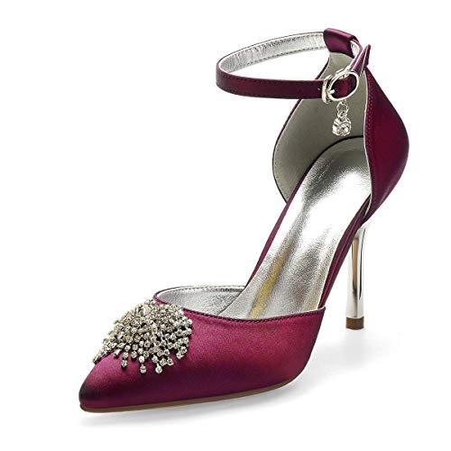 QXue - Zapatos de novia de satén con diamantes de imitación para...