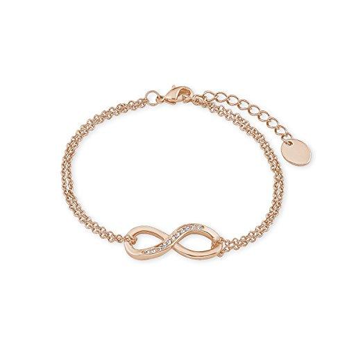NOELANI Damen-Armband rosévergoldet mit Infinity-Motiv mit Kristallen von Swarovski