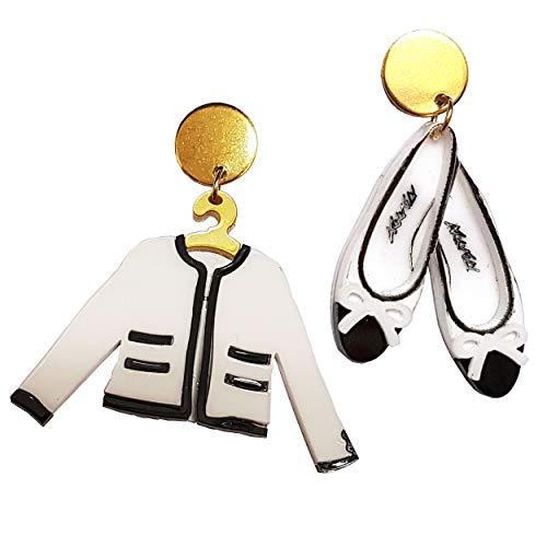 VIALESCARPE - Pendientes colgantes artesanales Arky Fly de plexiglás de colores trabajados con láser. Bailarinas y chaqueta. Mujer. Blanco negro y dorado.