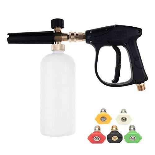 ZHITING Hochdruckreiniger Pistole mit 5 Wasserdüse Spitze & 1L Schnee Schaum Lanze Flaschenkit für Auto Boden Deck Fenster Reinigung M22 metrische Innengewinde Fitting