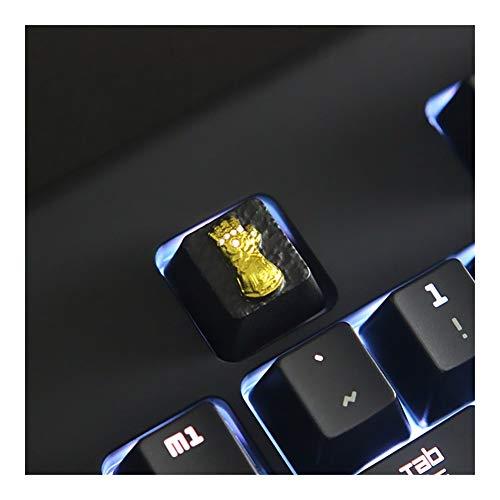YEZIO Keycaps für Keyboards 1 Stück Zink-Aluminium-Legierung Backlit Schlüsselkappe for mechanische Tastatur Marvel Thanos Infinity Gauntlet Stereoscopic Relief Keycap Universal