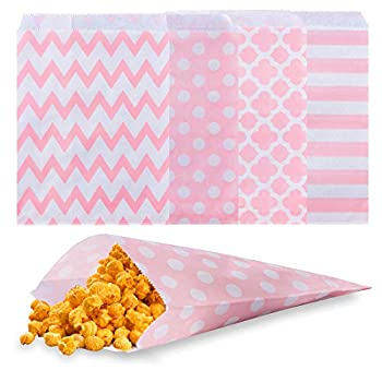Biodegradable Paper Candy Cookie Bags NUIBY Food Safe Favor Bags Buffet Treat Bags for All Party Loot Bags - 100 Counts Assorted 4 Designs  pink
