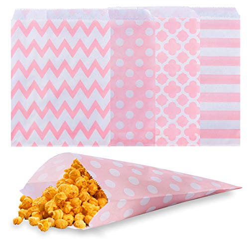 Biodegradable Paper Candy Cookie Bags, NUIBY Food Safe Favor Bags, Buffet Treat Bags for All Party Loot Bags - 100 Counts, Assorted 4 Designs (pink)