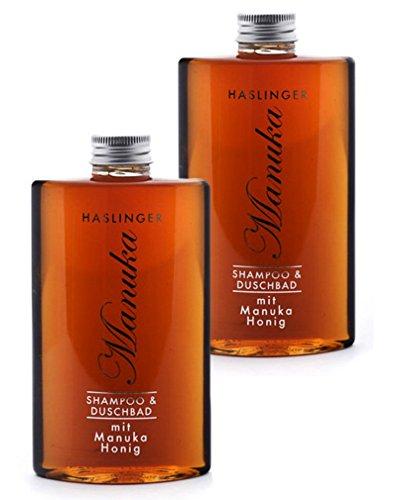 Lashuma Duschgel & Shampoo Manuka Honig, Duschbad mit echtem Manuka Bienenhonig im 2er Set 2x 200 ml