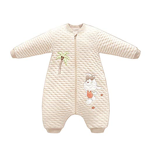HUACANG HUACANG Gestreifte Pyjamas Mit Anti-Kick-Öffnung Geeignet Für Frühlingsbabys Hochwertiger Und Bequemer Stoff Hautfreundlicher Warmer Schlafsack (Farbe : A, Size : S)