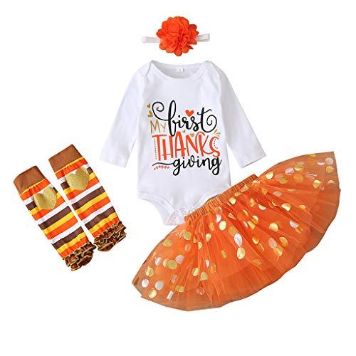 Baby Mädchen Kleidung Set Thanksgiving Day Babybody Strampler Tutu Rock Stirnband Socken Bekleidungsset, Orange, 0-3 Monate