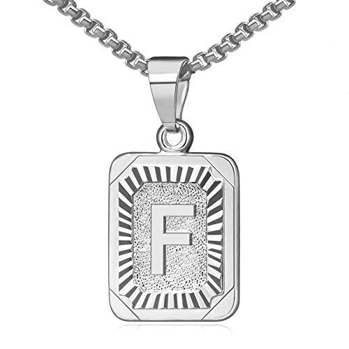 OIDEA Collar con colgante de letra inicial A-Z con letra mayúscula para mujer de hombre, chapado en plata, cadena de caja de acero inoxidable de 22 pulgadas F