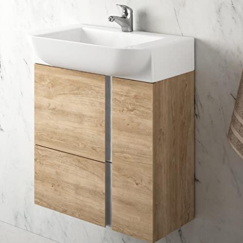 Mueble de baño Versa suspendido a Pared Fondo Reducido 1 cajón 2 Puertas con Lavabo Cerámico (Roble Natural, 55 cm)