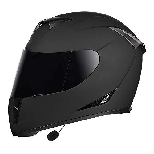 Visera Antivaho Casco De Moto con Bluetooth Hombre Y Mujer Integrado Modular Flip Cara Casco Motocicleta Personalidad Casco Locomotora, Certificación ECE, Negro Mate