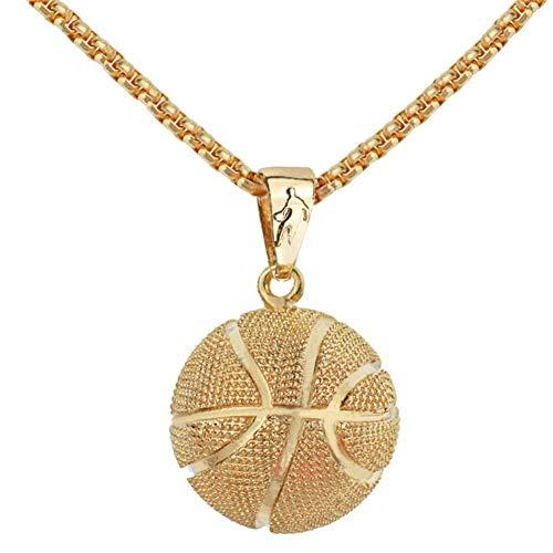 Basketball-Gedenk-Halskette, modisch, Legierung, Basketball-Anhänger, Edelstahl-Kette, Hip-Hop-Sport-Halskette mit Gravur, erhältlich Schmuck für Herren, Gold