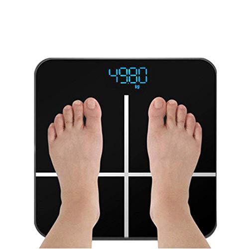 Shisyan Balanza de alta precisión báscula de baño, Digital Peso Humano Escalas con pantalla LCD Cuerpo balanzas electrónicas inteligentes y ensayos de seguridad, 180Kg / 400 libras Negro Básculas digi