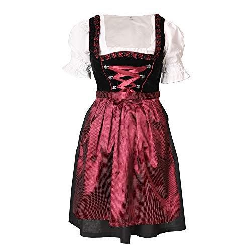 Bongossi-Trade Dirndl 3 TLG.Trachtenkleid Kleid, Bluse, Schürze, Gr. 34-46 schwarz rot Samt 36