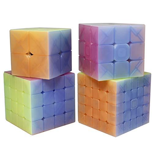 OJIN Gelatina Diseño del color Velocidad específica Paquete de cubos 2x2 3x3 4x4 5x5 Cubo brillante Puzzles suaves Juego de cubos con paquete de regalo + Cuatro trípodes