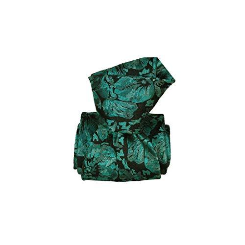 Segni et Disegni. Cravate classique. pensées, Soie. Vert, Paisley. Fabriqué en Italie.