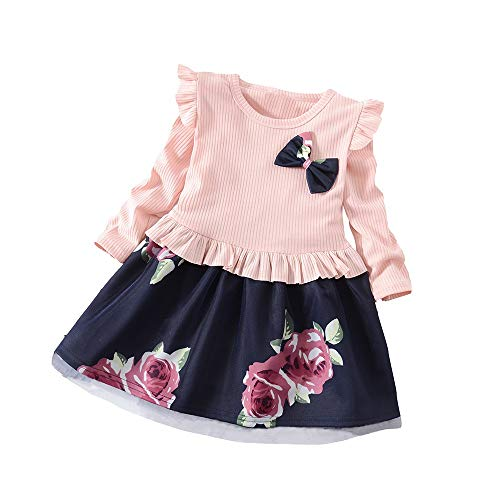 Walaka Bebe Robes Fille Manches Longues Coton Cartoon Floral Princesse Casual Enfant 2-8 Ans