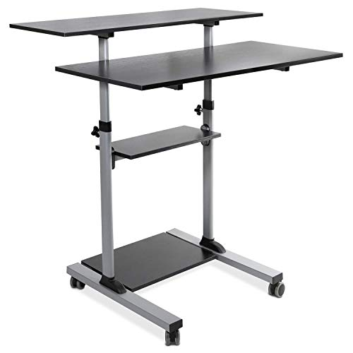 Mount-It! Mobile Standing Desk | Height Adjustable Rolling Desk with 40' Wide Table Tops | Multi-Purpose Rolling Presentation Cart with Four Platforms | (MI-7970)