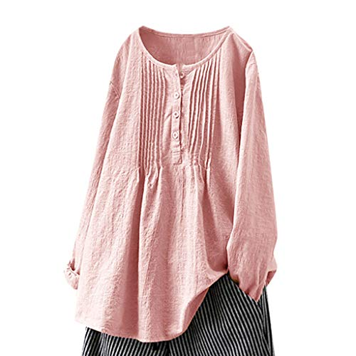 Linen Buttons Fold Shirt, QIQIU Womens Loose Casual Round Neck Long Sleeve Plus Size Tops Blouses Tunic Pullover Tees Pink