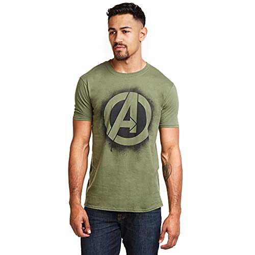 Marvel Stencil Logo, T-Shirt Manches, Vert (Military Green), Medium