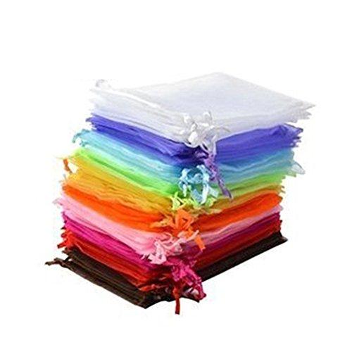 Rosenice - Sacchetti in organza, 50 pezzi, sacchetti regalo per gioielli, matrimonio, colore casuale