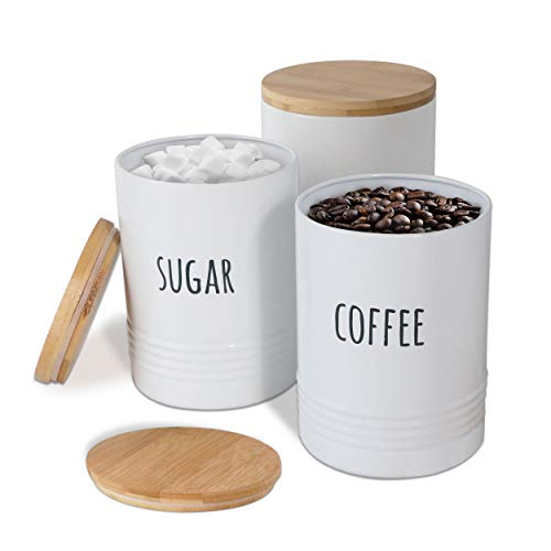 Karisky Kitchen Canisters 60 FL OZ Food Storage Containers with Airtight Bamboo Lid, Farmhouse Metal Coffee Sugar Tea Jars for Kitchen Counter Decor, 7 x 5 Inch, Set of 3, White