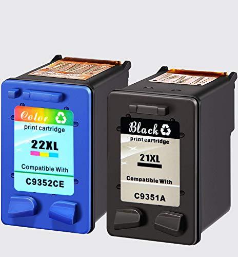 NineLeaf - Cartuchos de Tinta reciclados HP21 21 22 y HP22xl compatibles con HP Deskjet F2180 F380 F2280 F4180 D1460 3940 D2360 D1530 D2460 HP PSC 1410 Officejet 4315, Color y Negro
